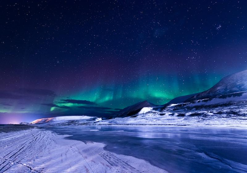 Svalbard in winter in Norway