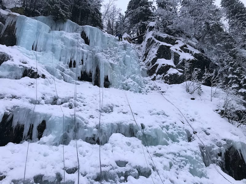 Winter ice climbing in Rjukan Norway
