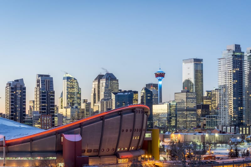 Winter in Calgary skyline