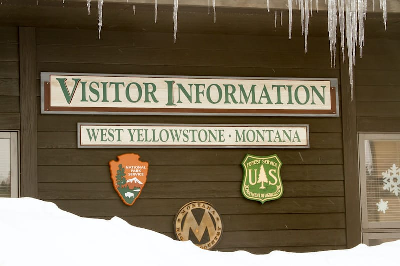 Yellowstone entrance in winter