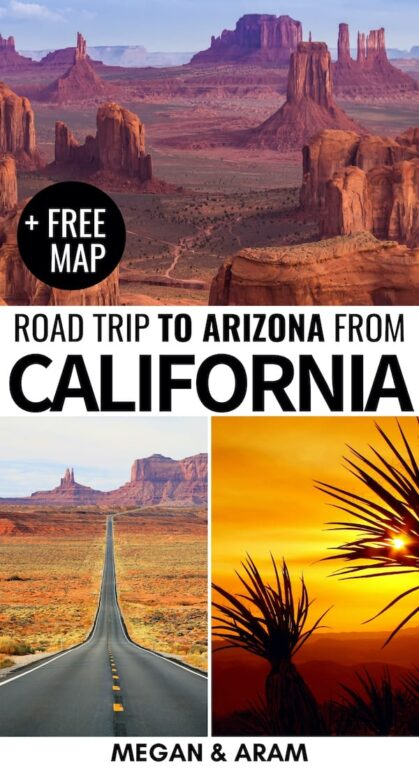 Are you planning a California to Arizona road trip to see some of America's most beautiful sights and parks? This guide will help you plan your CA-AZ road trip! | California road trip | Arizona road trip | California to Arizona | Southwest US Road trip | Grand canyon | Route 66 California to Arizona | Horseshoe Bend | Monument Valley road trip | Sedona Arizona | Kingman Arizona | Places to visit in Arizona | Things to do in Arizona | US National Parks | Arizona National Parks