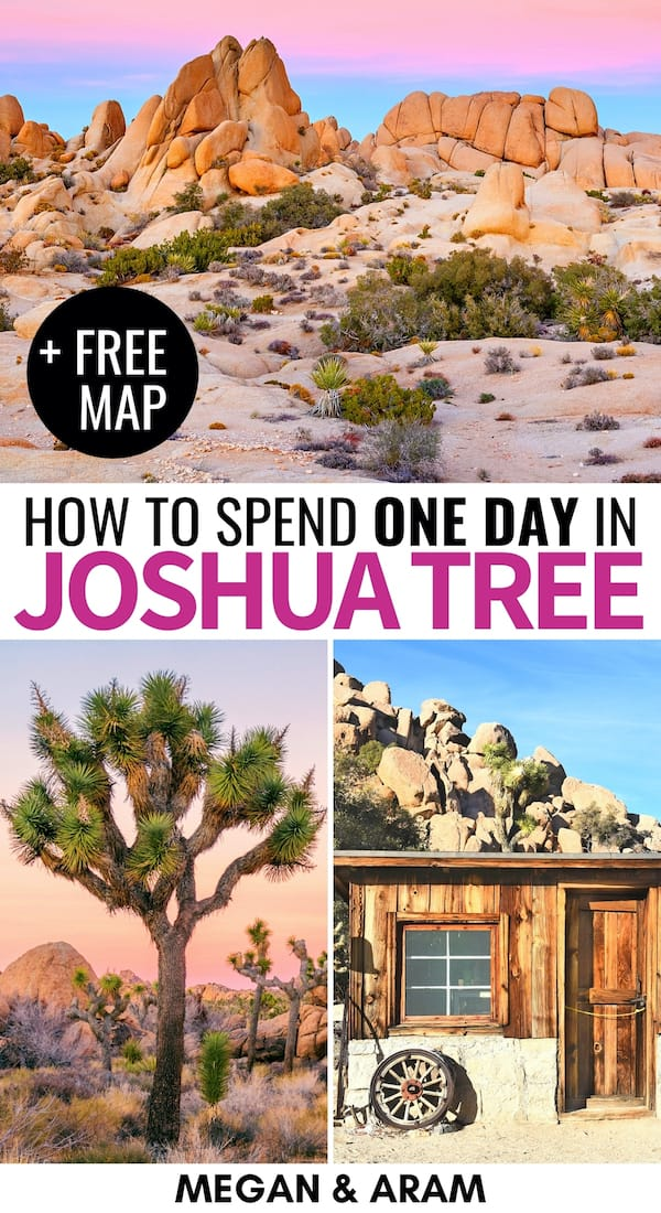 Do you only have one day in Joshua Tree and want to get the most out of your trip? This 1-day Joshua Tree itinerary will give you tips for what to do and more! | Things to do in Joshua Tree | Places to visit in California | Joshua Tree 1 day | Itinerary Joshua Tree | Joshua Tree National Park itinerary | one day in Joshua Tree National Park | California National Parks | Pioneertown | Yucca Valley | Twentynine Palms | Key Ranch Joshua Tree | Joshua Tree hiking | Joshua Tree photography