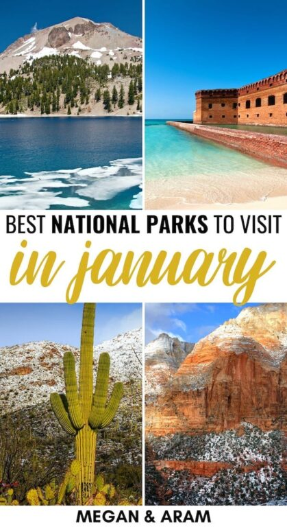 15 Best National Parks to Visit in January (+ Winter Tips): Are you looking for the best national parks to visit in January? This guide details fifteen great US National Parks to visit in January and gives many tips. | Places to visit in USA | USA National Parks | America National Parks | Yellowstone in Winter | Zion in Winter | National Parks to visit in Winter | USA Winter | Everglades in winter | Great Smoky Mountains winter | Death Valley winter | Acadia winter