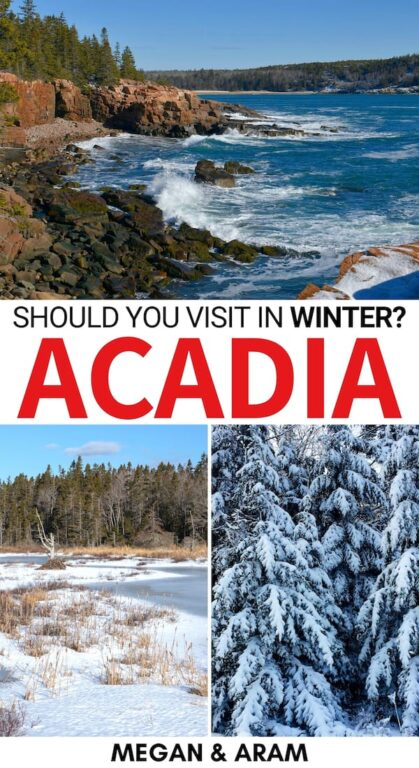 Are you planning a trip to Acadia in winter? Our travel guide to spending winter in Acadia National Park will give you tips for what to do, where to stay, and more! | Winter acadia | Acadia winter | Acadia snow | Acadia hiking | Acadia National Park in Maine | US National Parks | Acadia skiing | Acadia snowshoeing | Things to do in Acadia | What to do in Acadia | Places to visit in Maine | Visiting Acadia | Visit Acadia | Acadia travel | Acadia National Park tips | Acadia hikes | Acadia trails