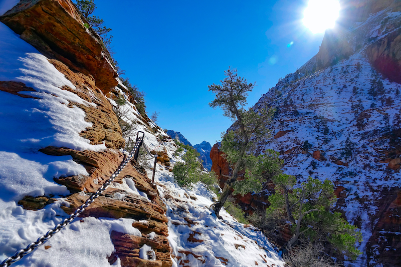 Angel's Landing Hike and Views in Zion in winter