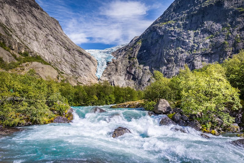 Briksdal glacier in Norway wel known arm of the large Jostedalsbreen glacier in Oldedalen valley in Norway