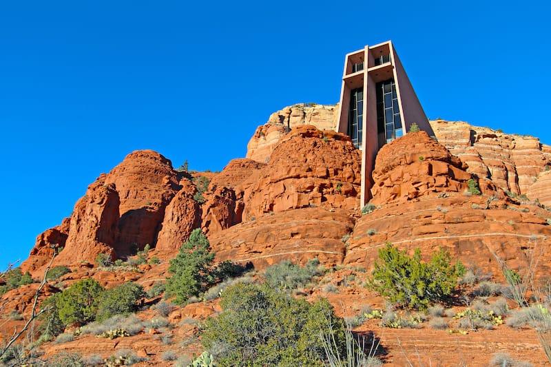 Chapel of the Holy Cross set among red rocks in Sedona, Arizona