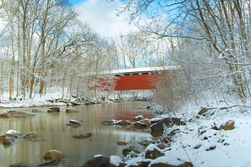 Everett Covered Bridge in the winter. Located in Cuyahoga Valley National Park
