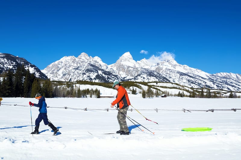 Family Cross-country skiing in Grand Teton National Park in winter