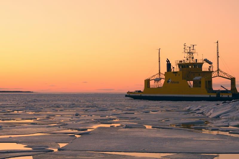 Ferry in Bothnian Bay in Finland