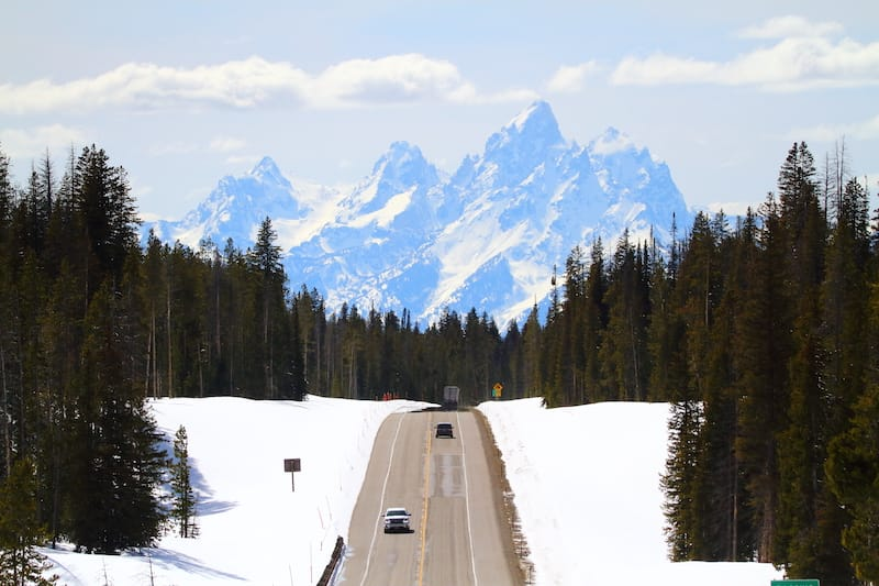 Grand Teton driving in winter