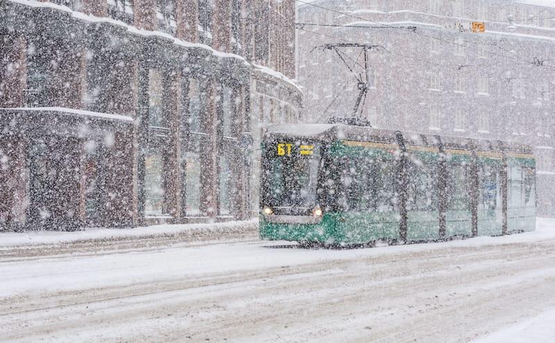 Helsinki in winter tram