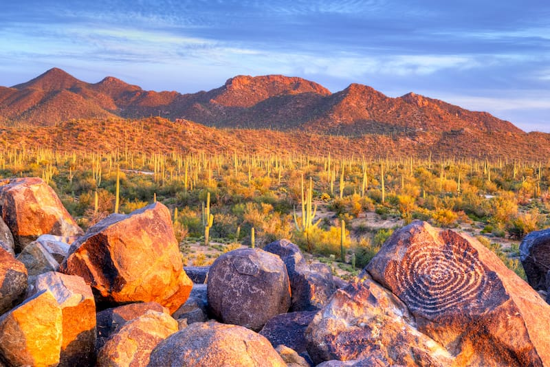 Hohokam Petroglyphs, on Signal Hill in Saguaro National Park, at sunset