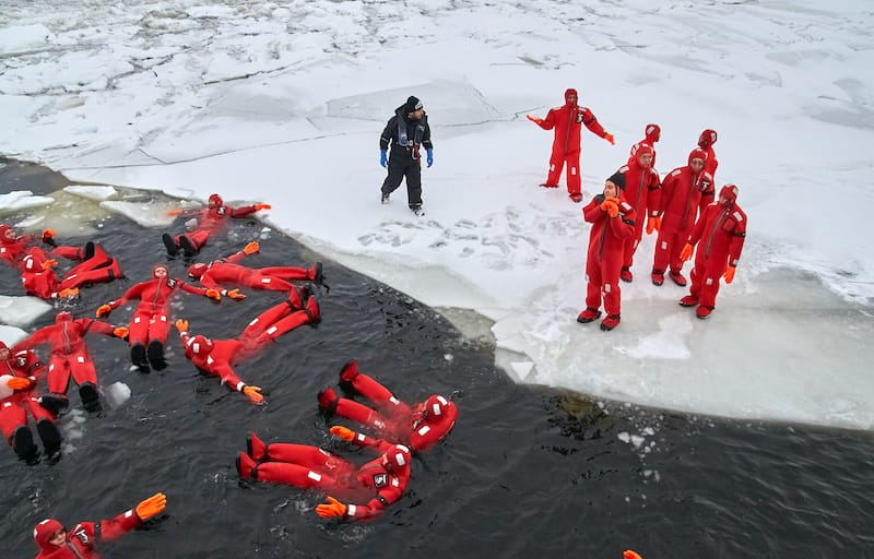 Kemi Finland ice floating survival