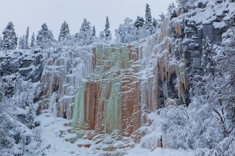 Korouoma National Park frozen waterfall winter