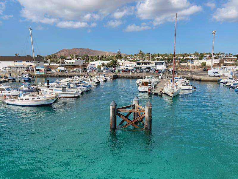Harbor at Playa Blanca near ferry port on lanzarote