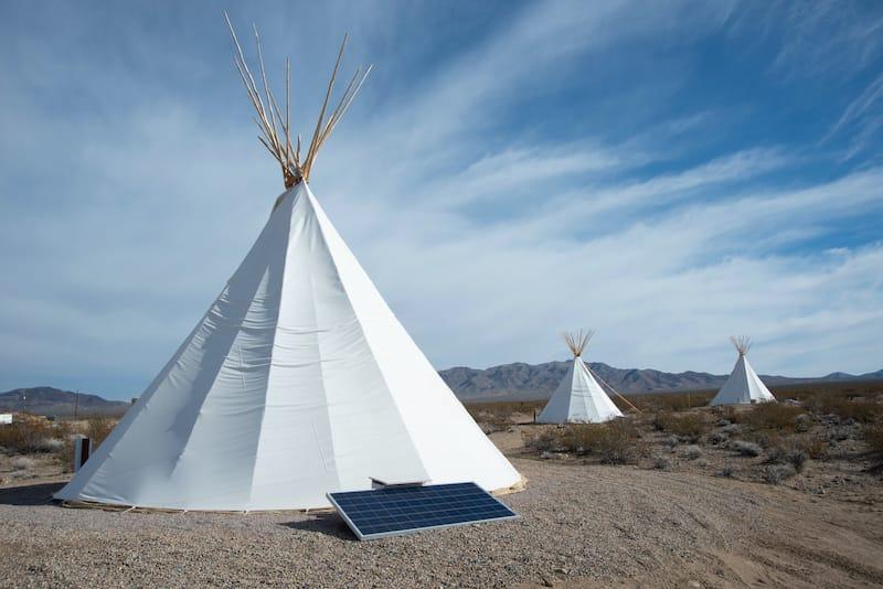 Nipton Inn teepees in Mojave california