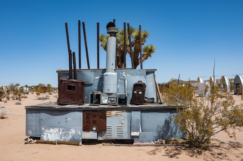 Noah Purifoy's Outdoor Desert Art Museum of Assemblage Sculpture created in the high desert of Joshua Tree