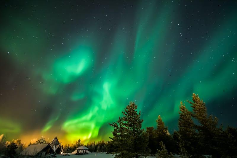 Northern lights in Lapland Finland Rovaniemi