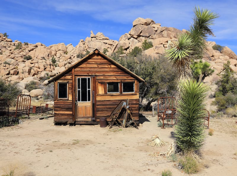 One of the old, long-abandoned structures at the Keys Ranch in Joshua Tree National Park, California