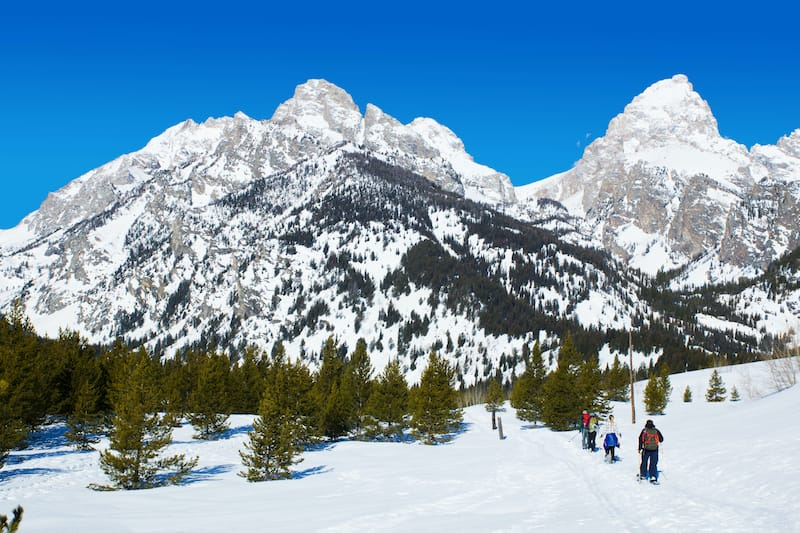 Snowshoeing in Grand Teton National Park during winter