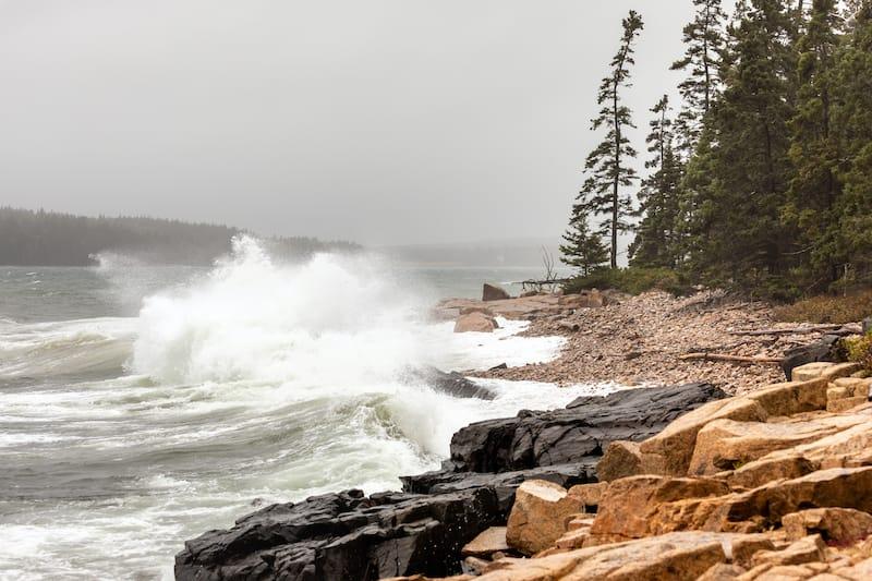 rocky coast of Schoodic Point Maine near Acadia National Park