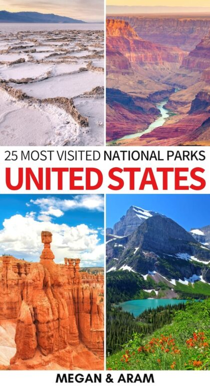 Are you looking to find what the most visited US national parks are? This guide showcases the most popular US national parks- from Acadia to the Grand Canyon! | US National Parks | NPS | Best national parks | Yosemite | Discover America | Yellowstone | Shenandoah | Zion | Bryce Canyon | Arches | Hawaii Volcanoes | USA nature | USA travel | Visit USA | Discover America | America national parks | National parks in America