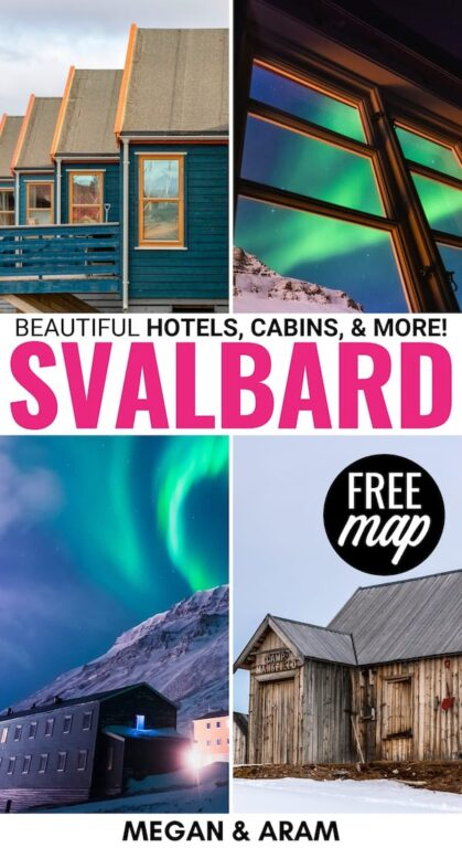There are plenty of hotels in Svalbard for any budget! This guide lists the best Longyearbyen accommodation, camping, and Svalbard hotel tips (+ map)! | Svalbard guesthouse | Svalbard cabins Svalbard lodging | Best Svalbard hotels | Accommodation in Longyearbyen | Spitsbergen hotels | Barentsburg hotels | Svalbard hostels | Pyramiden hotels | Where to stay in Svalbard | Where to stay in Longyearbyen | Cabins in Svalbard | Airbnb in Svalbard | Svalbard Airbnb | Svalbard rentals