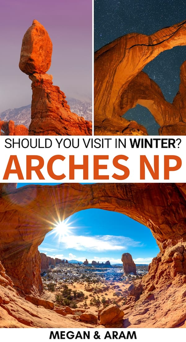 Planning a trip to Arches National Park in winter? This guide uncovers the best tips, things to do, tours, and lodging to make your trip to Arches epic! | Arches in winter | Winter in Arches National Park | Arches and Canyonlands | Moab day trips | Moab to Arches National Park | Delicate Arch | Utah winter | Visit Arches | Arches National Park photography | Arches National Park photos | Arches national park camping | Arches national park hikes | Hiking in Arches National Park