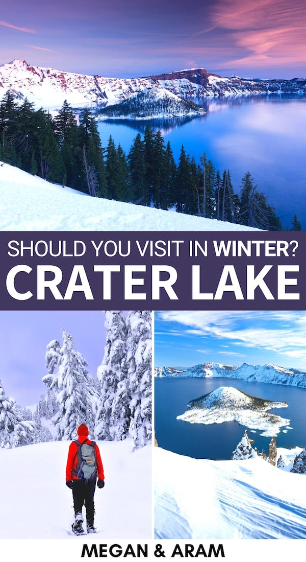 Are you looking to visit Crater Lake in winter? This guide is perfect for you! It includes winter in Crater Lake activities, travel tips, accommodation, and more! | Crater Lake Travel | Crater Lake winter | Oregon winter | Crater Lake hiking | Crater Lake skiing | Crater Lake camping | Things to do in Crater Lake | Oregon national parks | Crater Lake National Park in winter | Crater Lake Oregon | Crater lake hikes | Oregon skiing | Places to visit in Oregon
