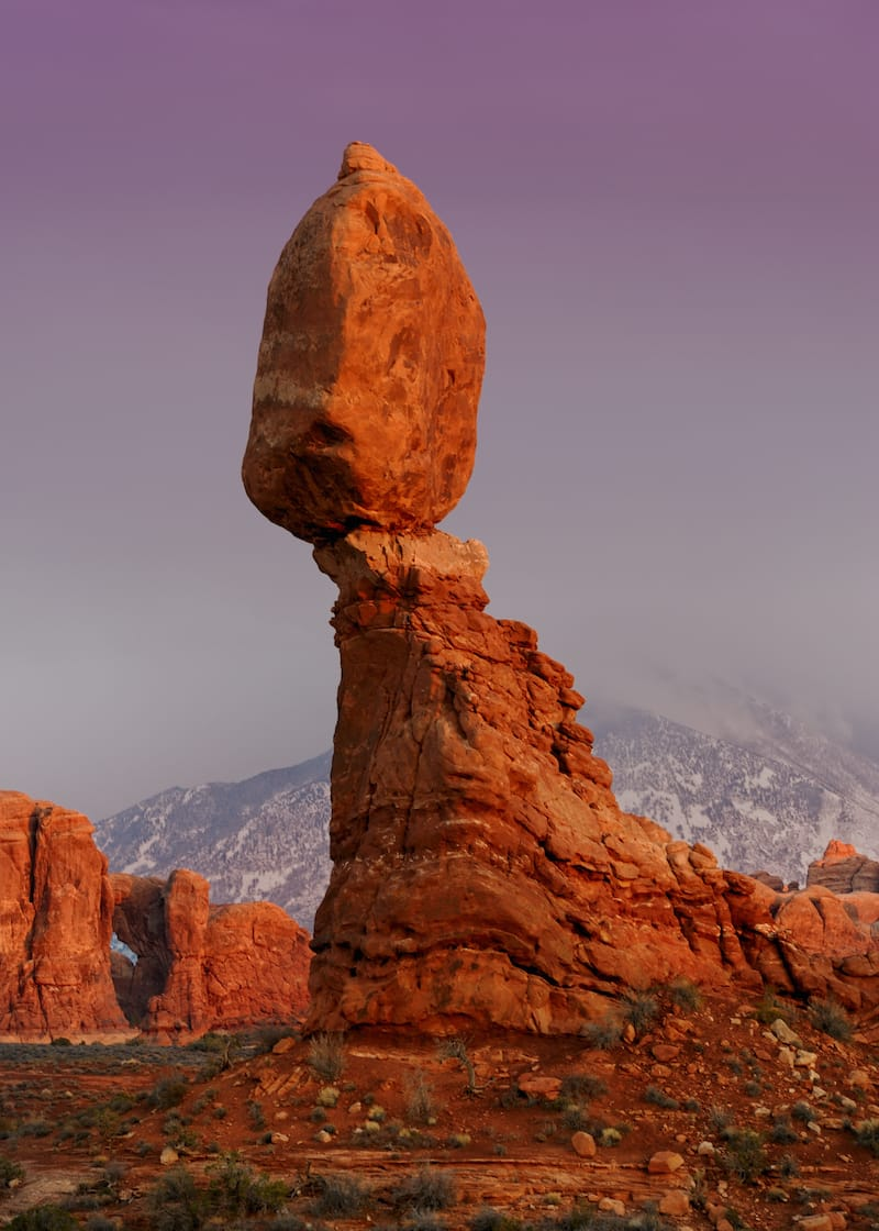 Balanced Rock in Arches National Park during winter