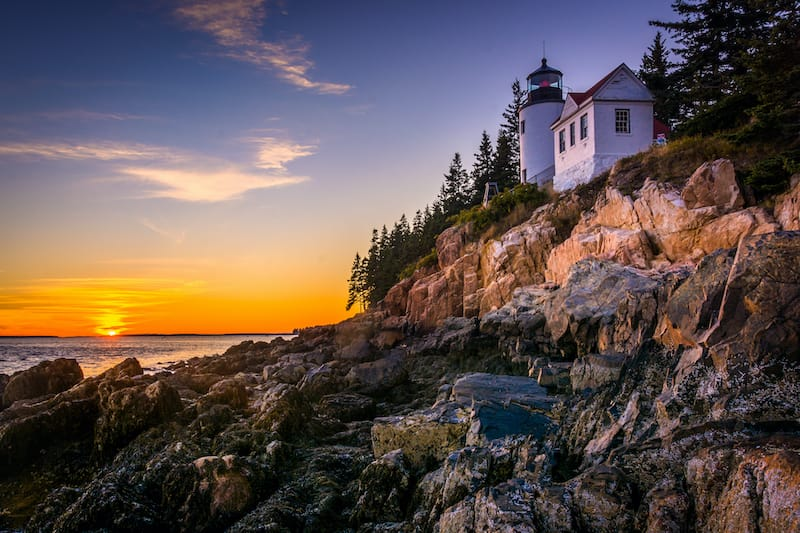 Bass Harbor Lighthouse at sunset, in Acadia National Park, Maine.