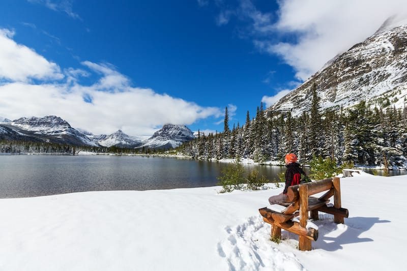 By the lake during winter in Glacier National Park