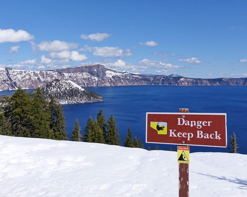 Crater Lake during winter sign