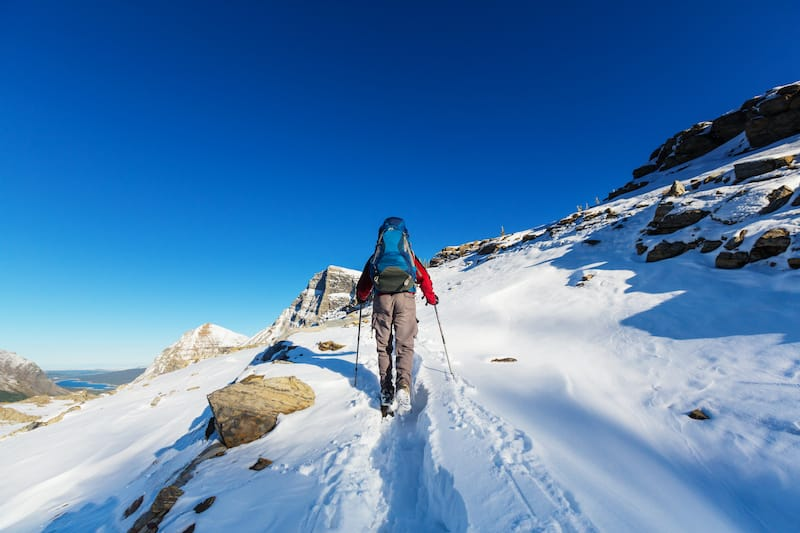 Cross country skiing in Glacier National Park in winter