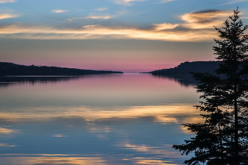 Dawn breaks over Moskey Basin, at Isle Royale National Park spring