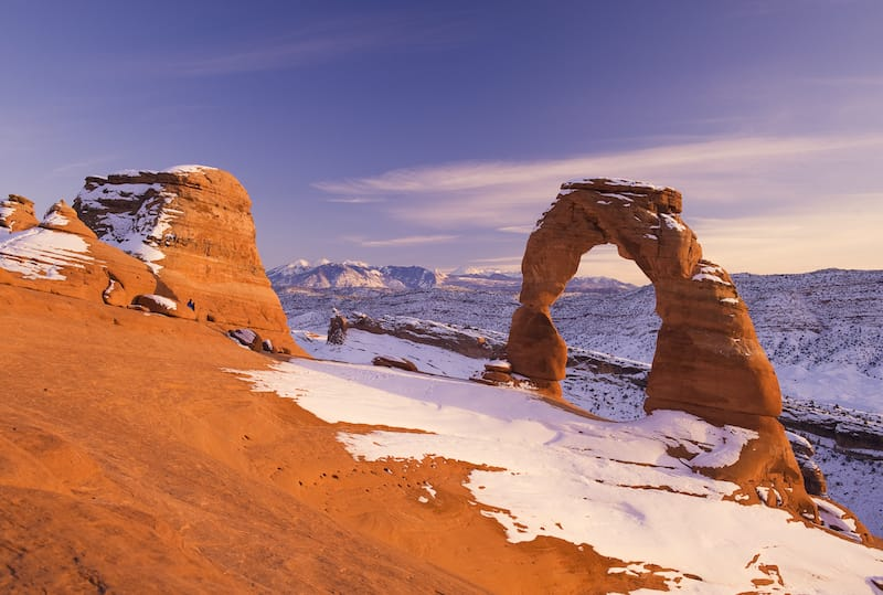 Delicate Arch in Arches National Park in winter