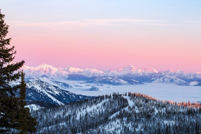 Glacier National Park winter sunset