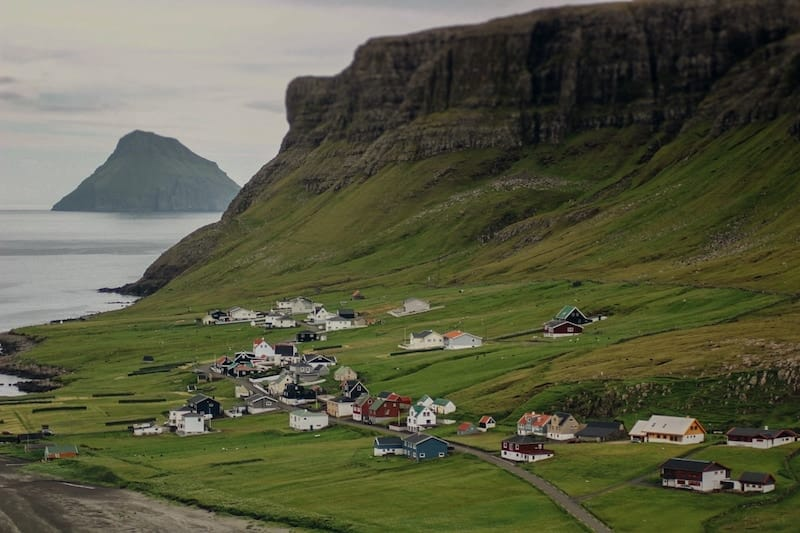 Hvalba views of Litla Dimun in the Faroe Islands