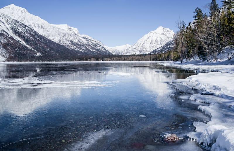 Lake McDonald in Glacier National Park in winter