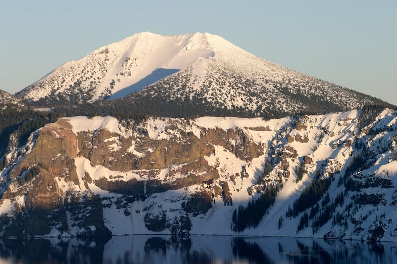 Mount Scott in winter From Discovery Point, Crater Lake National Park