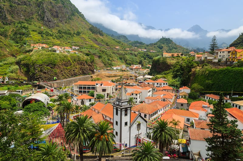 Mountain village Sao Vicente during flower festival
