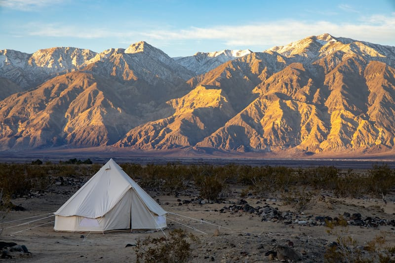 Mountains lit by a sunrise in Death Valley National Park
