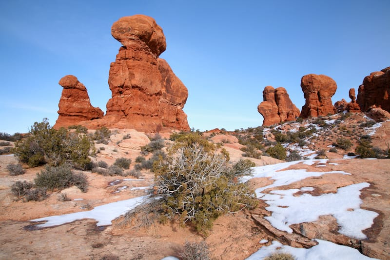 Pinnacles in Arches National Park in Utah