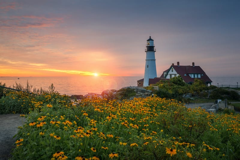 Sunrise at Portland Head Lighthouse in Maine