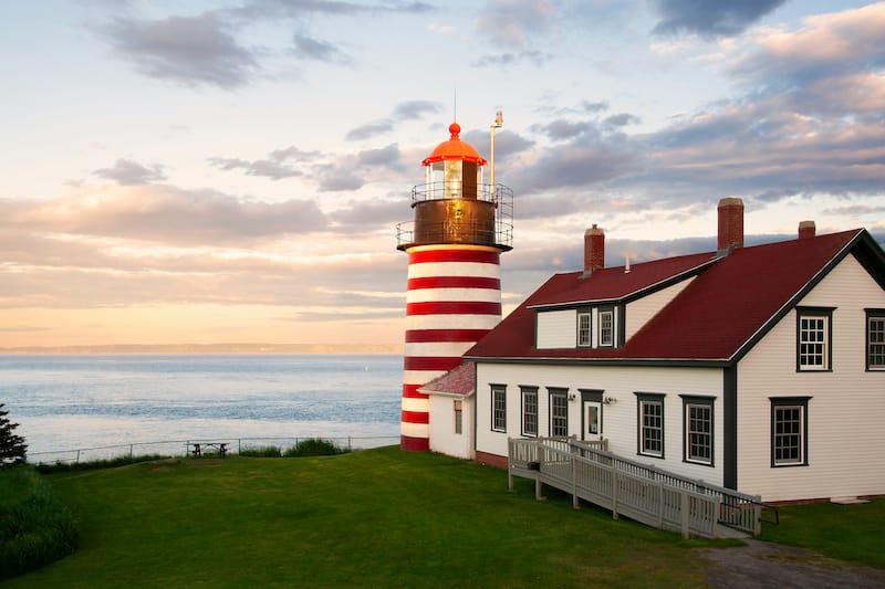 Sunset by West Quoddy Head lighthouse Bay of Fundy