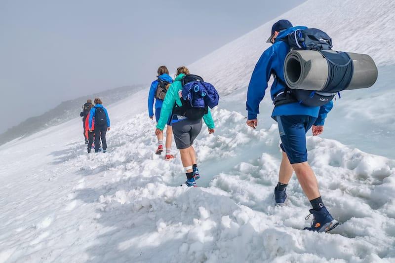 The slope of Galdhøpiggen mount in Jotunheimen National Park in Norway. Cold summer in Scandinavia