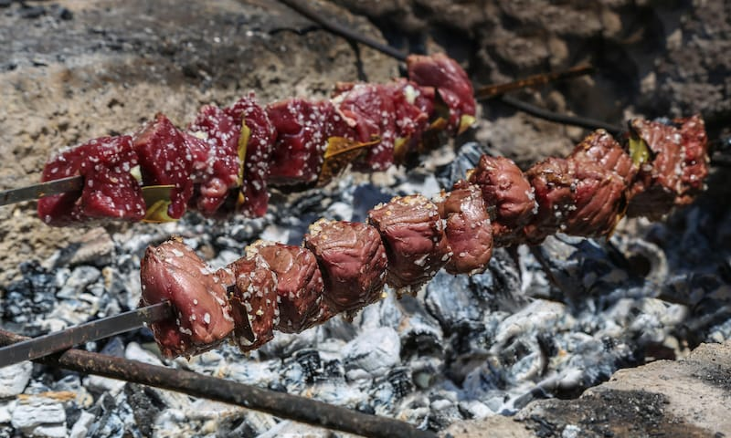 Traditional barbecue of Madeira. Espetada