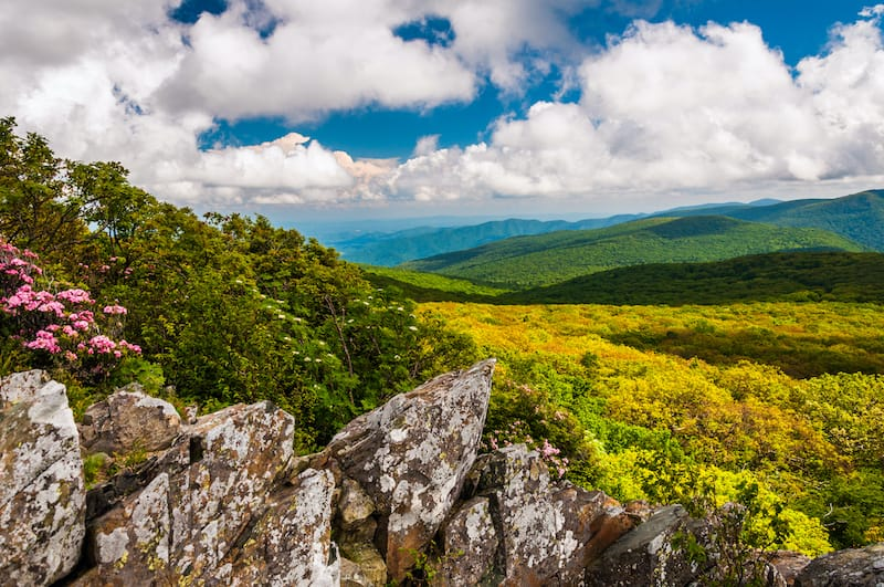 View of the Blue Ridge from cliffs on Stony Man Mountain in Shenandoah National Park
