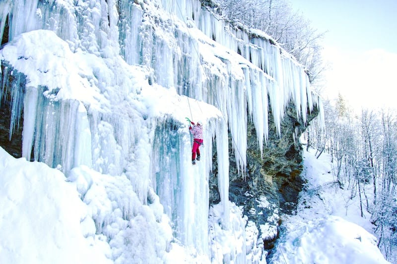 Winter activities in Glacier National Park - ice climbing